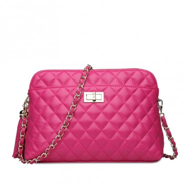 Rosaire Genuine Leather Bag Hot Pink 76122