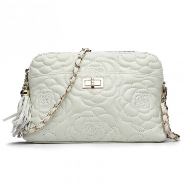 Rosaire « Louise » Bowling Bag Genuine Lambskin Leather with Camellia Flower Pattern in White Color 76123