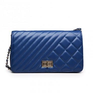 Rosaire Sac à main porté épaule en cuir Bleu 76124