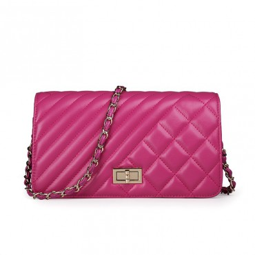 Rosaire Genuine Leather Bag Hot Pink 76124
