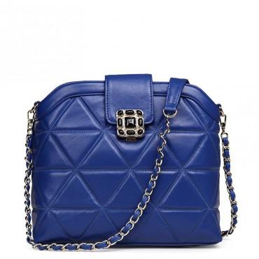 Rosaire Sac à main porté épaule en cuir Bleu 76119