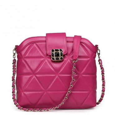 Rosaire Genuine Leather Bag Hot Pink 76119
