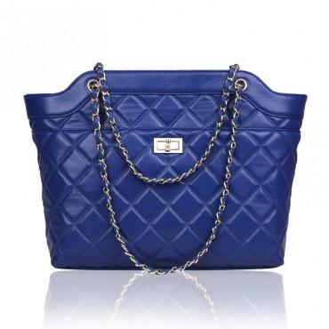 Rosaire Sac à main porté épaule en cuir Bleu 76125