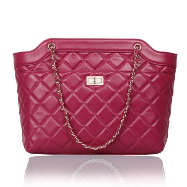 Rosaire Genuine Leather Bag Hot Pink 76125
