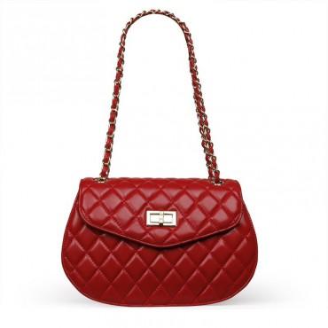 Rosaire Sac à main porté épaule en cuir Rouge 76126