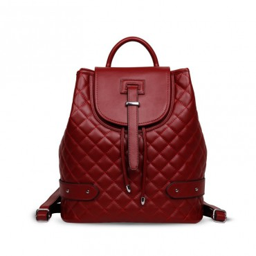 Rosaire « Constance » Quilted Backpack Bag made of Genuine Cowhide Leather in Red Color 76131