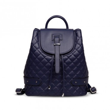 Rosaire « Constance » Quilted Backpack Bag made of Genuine Cowhide Leather in Dark Blue Color 76131