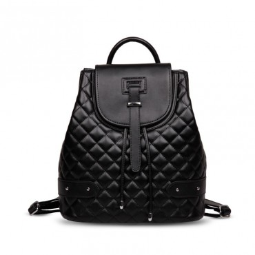 Rosaire « Constance » Quilted Backpack Bag made of Genuine Cowhide Leather in Black Color 76131