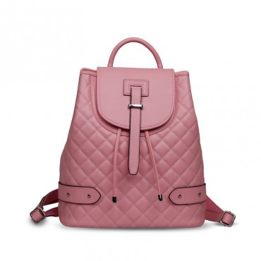 Rosaire « Constance » Quilted Backpack Bag made of Genuine Cowhide Leather in Pink Color 76131