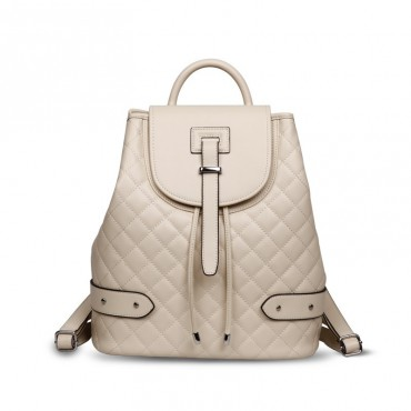 Rosaire « Constance » Quilted Backpack Bag made of Genuine Cowhide Leather in Ivory White Color 76131
