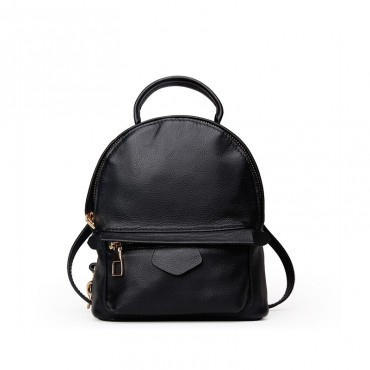 Rosaire « Elfe » Backpack Bag Korean Style made of Cowhide Leather with Cross-Body Strap in Black Color / 76137