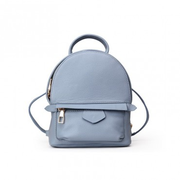 Rosaire « Elfe » Backpack Bag Korean Style made of Cowhide Leather with Cross-Body Strap in Blue Color / 76137
