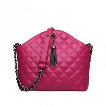 Rosaire Genuine Leather Bag Hot Pink 76118