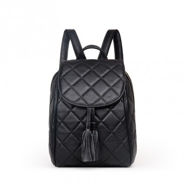 Rosaire « Belinda » Quilted Backpack Flap Bag made of Caviar Leather with Tassel in Black Color 76149