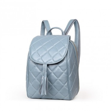 Rosaire « Belinda » Quilted Backpack Flap Bag made of Caviar Leather with Tassel in Light Blue Color 76149