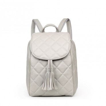 Rosaire « Belinda » Quilted Backpack Flap Bag made of Caviar Leather with Tassel in Beige Color 76149