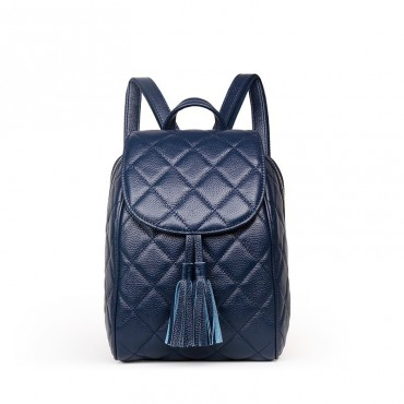 Rosaire « Belinda » Quilted Backpack Flap Bag made of Caviar Leather with Tassel in Dark Blue Color 76149