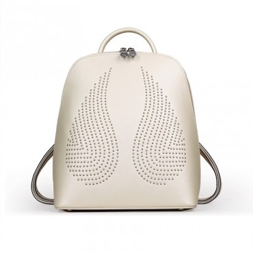 Rosaire « Angel Wings » Trendy Studded Backpack Cowhide Leather Bag in Beige Color 76150