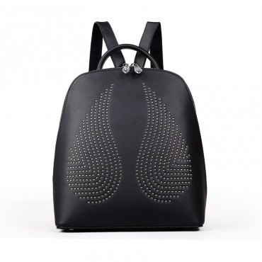 Rosaire « Angel Wings » Trendy Studded Backpack Cowhide Leather Bag in Black Color 76150