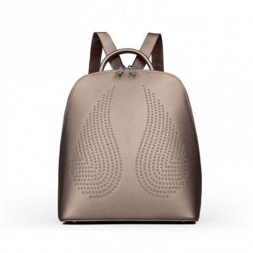 Rosaire « Angel Wings » Trendy Studded Backpack Cowhide Leather Bag in Khaki Color 76150