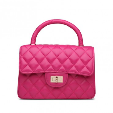 Rosaire Genuine Leather Bag Hot Pink 76153