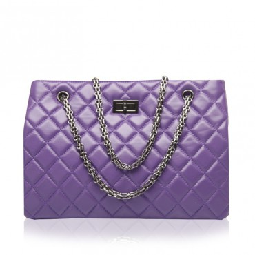 Rosaire Sac à main poignée en cuir Violet 76177