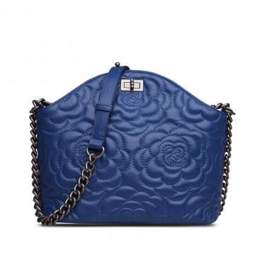 Rosaire Sac à main porté épaule en cuir Bleu 76182