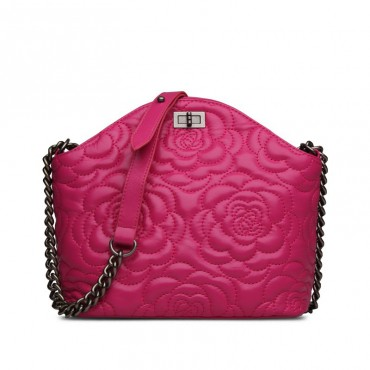Rosaire Genuine Leather Bag Hot Pink 76182