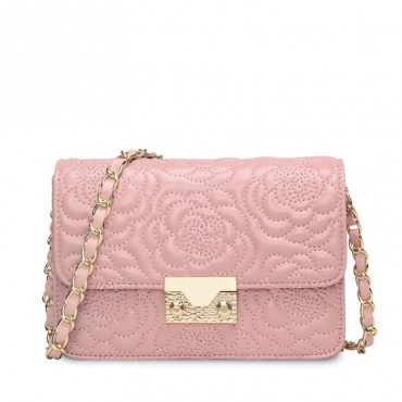 Rosaire « Raymonde » Lambskin Leather Shoulder Bag with Embroidered Camellia Flower Pattern in Pink Color / 76183