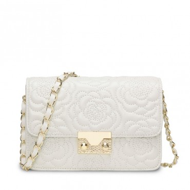 Rosaire « Raymonde » Lambskin Leather Shoulder Bag with Embroidered Camellia Flower Pattern in White Color / 76183