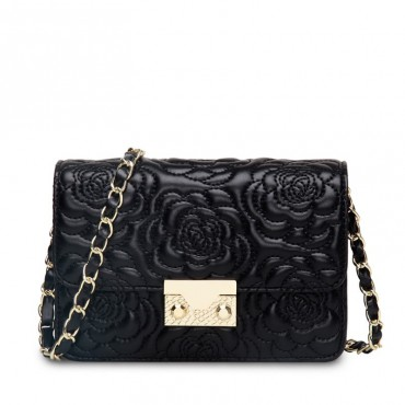 Rosaire « Raymonde » Lambskin Leather Shoulder Bag with Embroidered Camellia Flower Pattern in Black Color / 76183