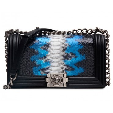 Rosaire « Soline » Shoulder Bag made of Cowhide Leather (Snakeskin Pattern) with Chain Link in Black Blue White Color / 76178
