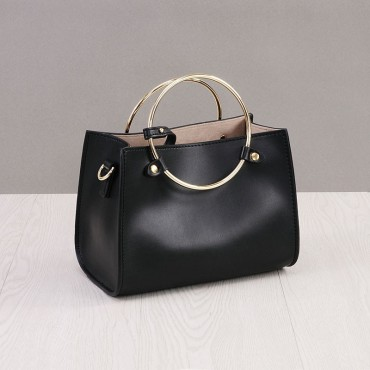 Rosaire Genuine Leather Handbag Black 76186