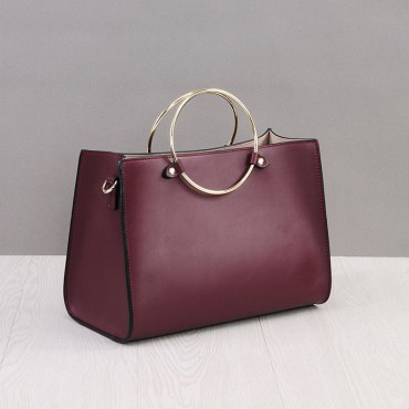 Rosaire Genuine Leather Handbag wine red 76186