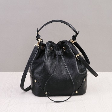 Rosaire Genuine Leather Handbag Black 76187