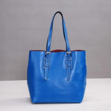 Rosaire Sac à main poignée en cuir Bleu 76188