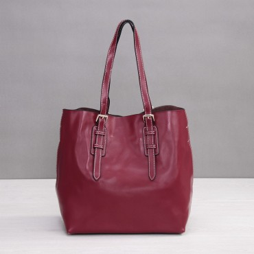 Rosaire Genuine Leather Handbag wine red 76188