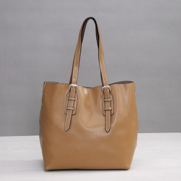 Rosaire Genuine Leather Handbag khaki 76188