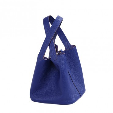 Rosaire « Agathe » Bucket Bag Made of Genuine Cowhide Leather with Padlock in Electric Blue Color 76195