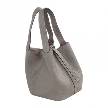 Rosaire « Agathe » Bucket Bag Made of Genuine Cowhide Leather with Padlock in Elephant Gray Color 76195