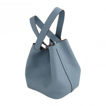 Rosaire « Agathe » Bucket Bag Made of Genuine Cowhide Leather with Padlock in Blue Sky Color 76195