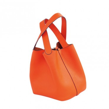 Rosaire « Agathe » Bucket Bag Made of Genuine Cowhide Leather with Padlock in Orange Color 76195
