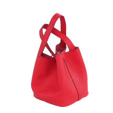 Rosaire « Agathe » Bucket Bag Made of Genuine Cowhide Leather with Padlock in Red Color 76195