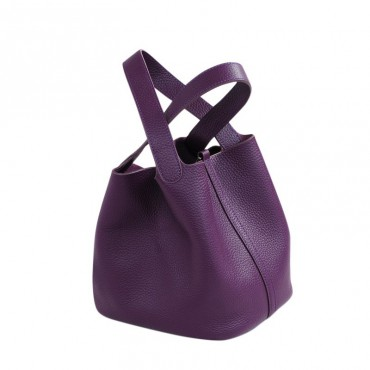 Rosaire « Agathe » Bucket Bag Made of Genuine Cowhide Leather with Padlock in Purple Color 76195