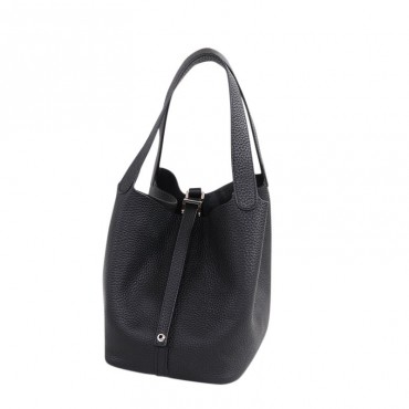 Rosaire « Agathe » Bucket Bag Made of Genuine Cowhide Leather with Padlock in Black Color 76195