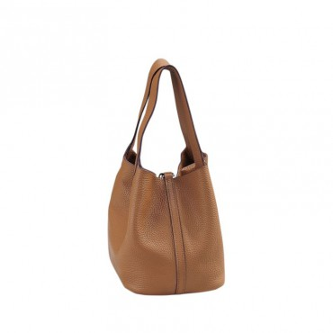 Rosaire « Agathe » Bucket Bag Made of Genuine Cowhide Leather with Padlock in Khaki Color 76195