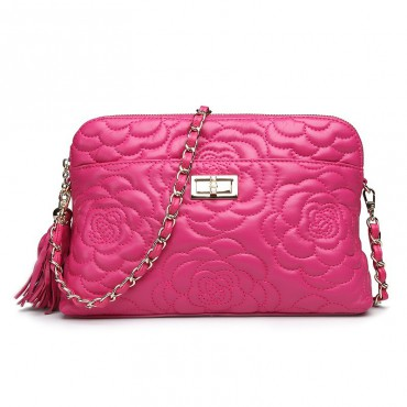 Rosaire « Louise » Bowling Bag Genuine Lambskin Leather with Camellia Flower Pattern in Hot Pink Color 76123