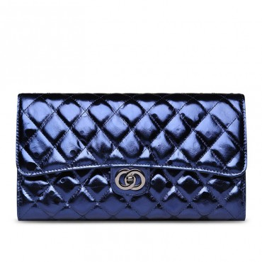 Rosaire « Jeanne » Quilted Metallic Clutch Bag Cowhide Leather with Shoulder Strap in Blue Color 75109