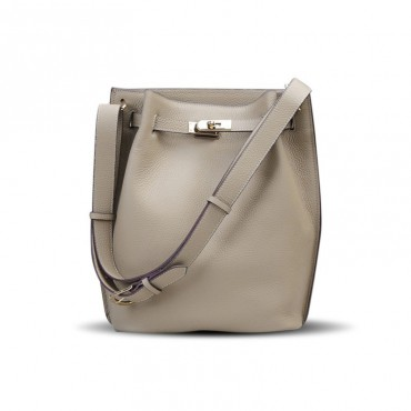 Rosaire « Hortense » Bucket Bag made of Genuine Cowhide Leather in Grey Color 76192