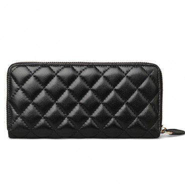 Rosaire « Hussarde » Quilted Lambskin Leather Zipper Wallet in Black Color 65122
